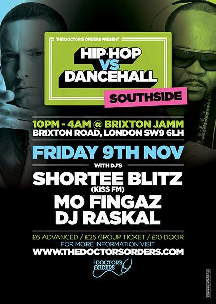 Hip Hop vs DanceHall at Brixton Jamm on Fri 9th November 2018 Flyer