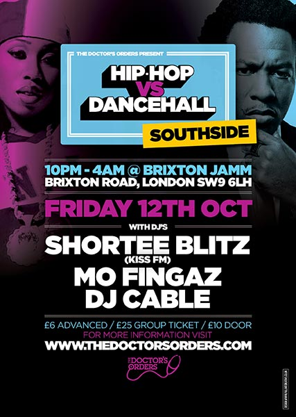 Hip-Hop vs Dancehall at Brixton Jamm on Fri 12th October 2018 Flyer