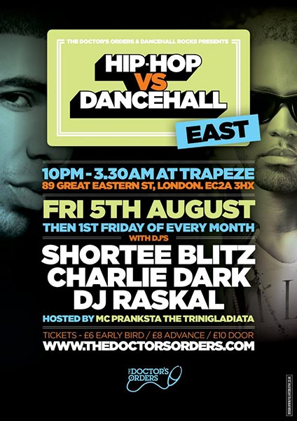 Hip Hop vs Dancehall East at Trapeze on Friday 5th August 2016 Flyer
