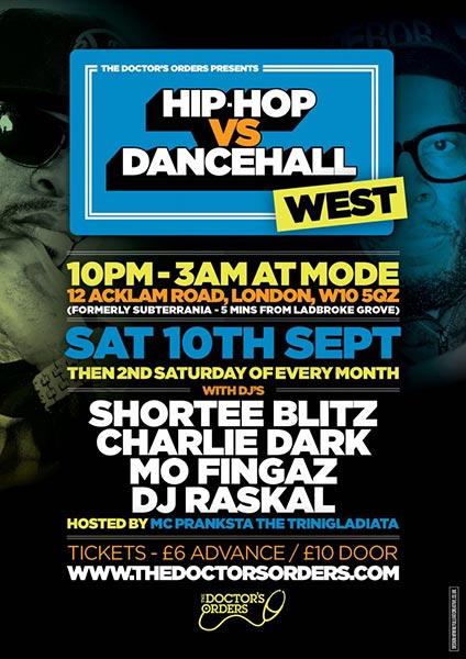 Hip Hop vs Dancehall West at Rah Rah Room on Saturday 10th September 2016 Flyer