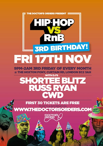 Hip Hop vs RnB 3rd Birthday at The Hoxton Pony on Fri 17th November 2017 Flyer