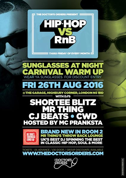 Hip Hop vs RnB at Trapeze on Friday 26th August 2016 Flyer