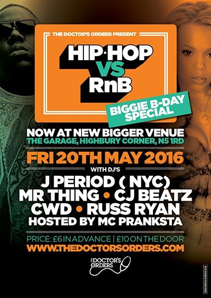 Hip Hop vs RnB at KOKO on Friday 20th May 2016 Flyer