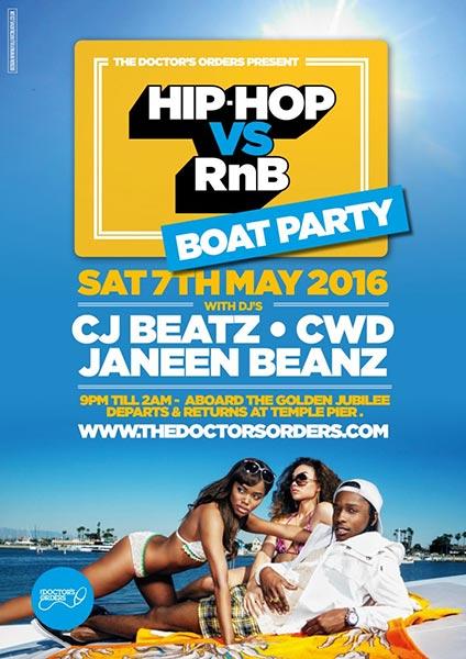 Hip Hop vs RnB Boat Party at KOKO on Saturday 7th May 2016 Flyer
