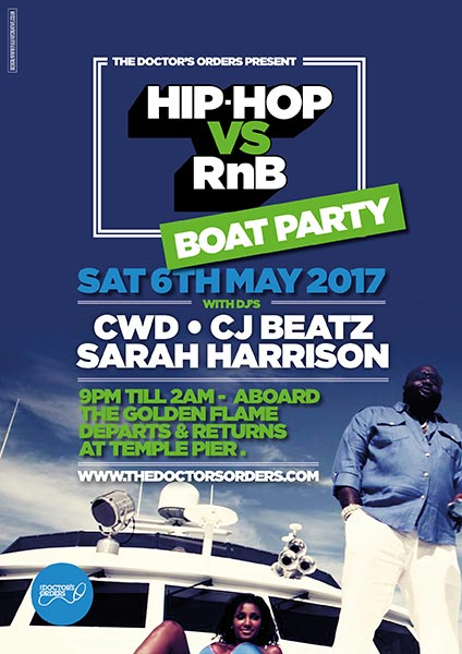 Hip Hop vs RnB Boat Party at Temple Pier on Sat 6th May 2017 Flyer