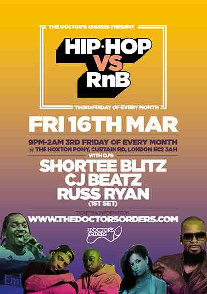 Hip Hop vs RnB at The Hoxton Pony on Fri 16th March 2018 Flyer