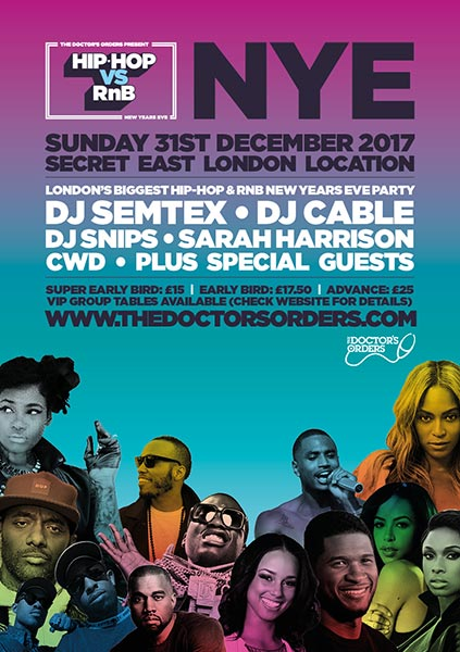 Hip Hop vs RnB - NYE at Finsbury Park on Sunday 31st December 2017 Flyer