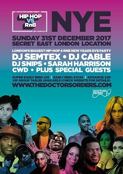 Hip Hop vs RnB - NYE at Secret Location on Sun 31st December 2017 Flyer