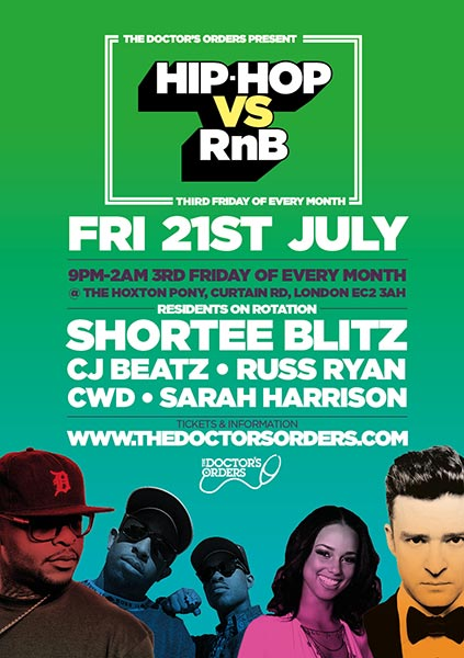 Hip Hop vs RnB  at The Hoxton Pony on Fri 21st July 2017 Flyer