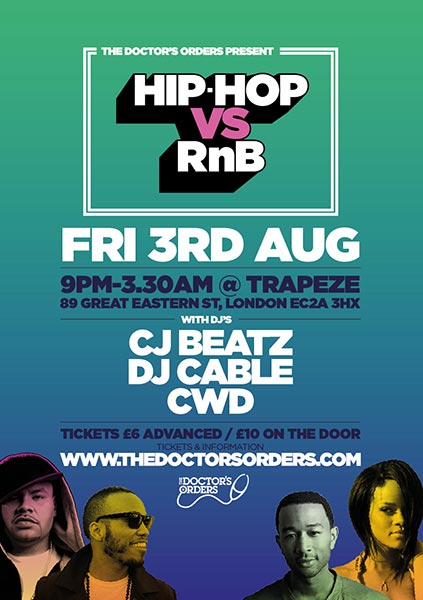 Hip Hop vs RnB at Trapeze on Fri 3rd August 2018 Flyer