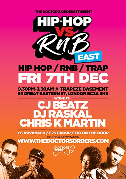 Hip Hop vs RnB at Trapeze on Friday 7th December 2018 Flyer