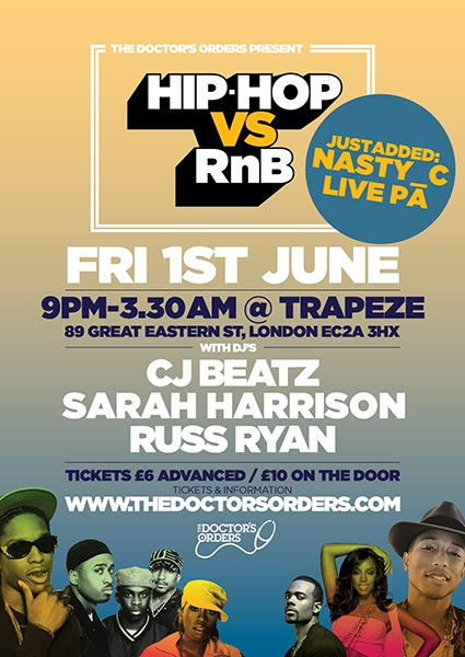 Hip Hop vs RnB at Trapeze on Friday 1st June 2018 Flyer