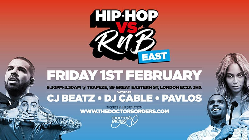 Hip Hop vs RnB at Trapeze on Friday 1st February 2019 Flyer