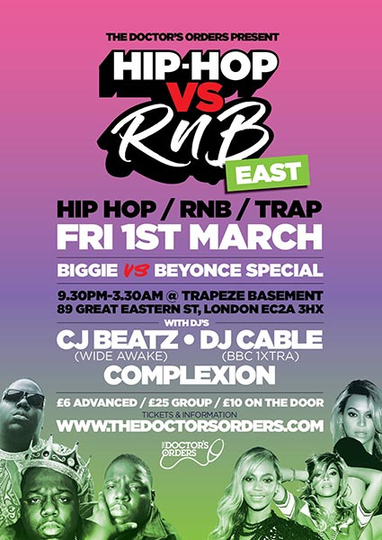 Hip Hop vs RnB at Trapeze on Fri 1st March 2019 Flyer