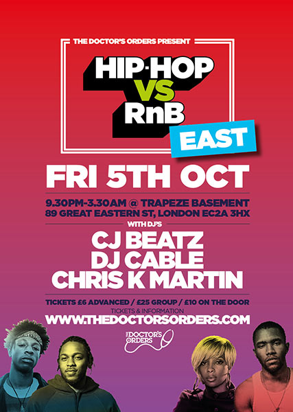 Hip Hop vs RnB at Trapeze on Friday 5th October 2018 Flyer