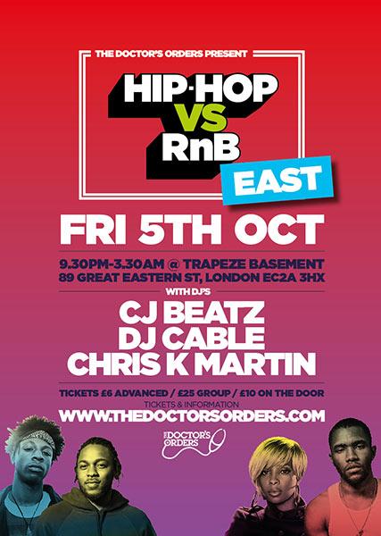 Hip Hop vs RnB at Trapeze on Fri 5th October 2018 Flyer