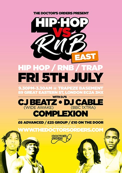 Hip Hop vs RnB at Trapeze on Fri 5th July 2019 Flyer