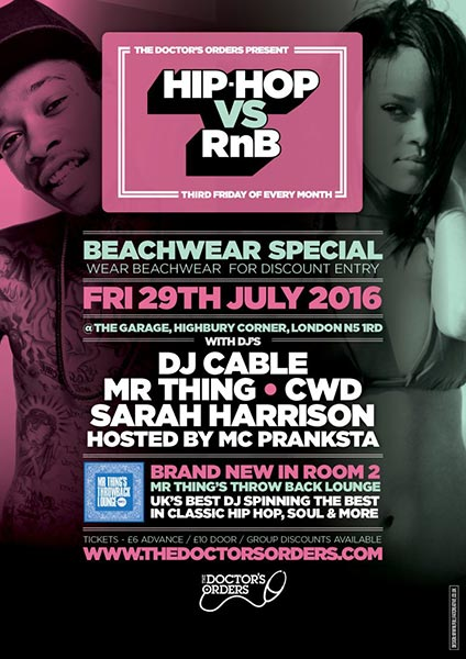 Hip Hop vs RnB at Trapeze on Friday 29th July 2016 Flyer