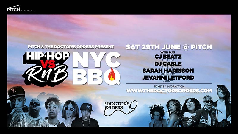 Hip Hop vs RnB at PITCH Stratford on Sat 29th June 2019 Flyer
