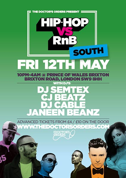 Hip Hop vs RnB South at Prince of Wales on Fri 12th May 2017 Flyer
