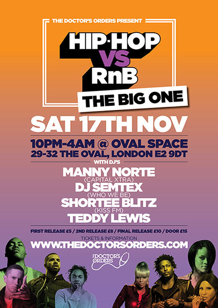 HipHop vs RnB at Oval Space on Sat 17th November 2018 Flyer