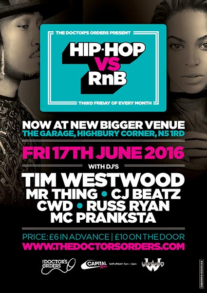 Hip Hop vs RnB at KOKO on Friday 17th June 2016 Flyer