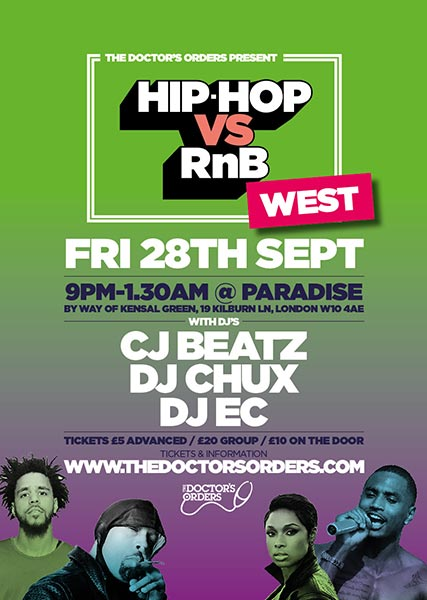 Hip-Hop vs RnB West at Paradise by way of Kensal Green on Friday 28th September 2018 Flyer