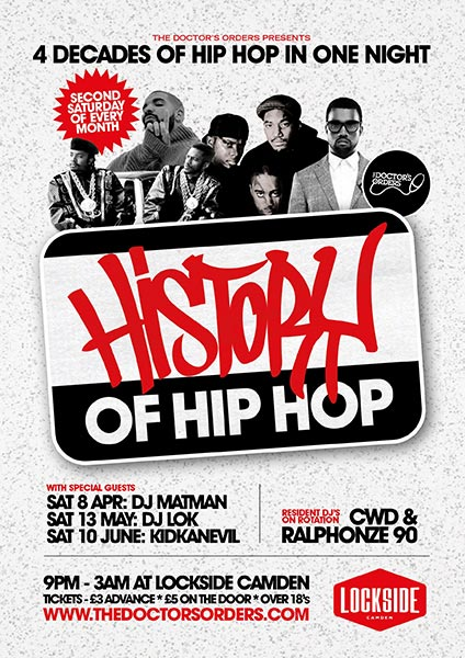 History of Hip Hop at Lockside Lounge on Sat 13th May 2017 Flyer