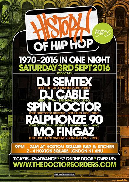 History of Hip Hop at Rah Rah Room on Saturday 3rd September 2016 Flyer