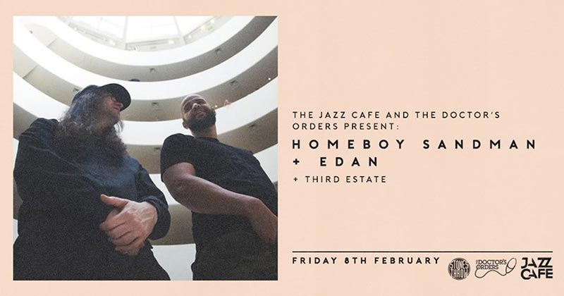 Homeboy Sandman + Edan at Jazz Cafe on Fri 8th February 2019 Flyer