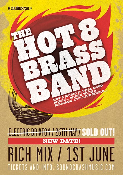 Hot 8 Brass Band at KOKO on Wednesday 1st June 2016 Flyer