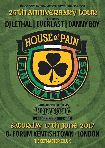 House of Pain at The Forum on Saturday 17th June 2017 Flyer
