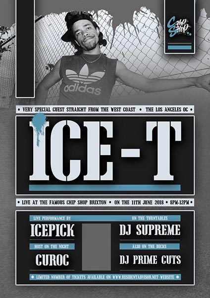 Ice-T at Chip Shop BXTN on Mon 11th June 2018 Flyer