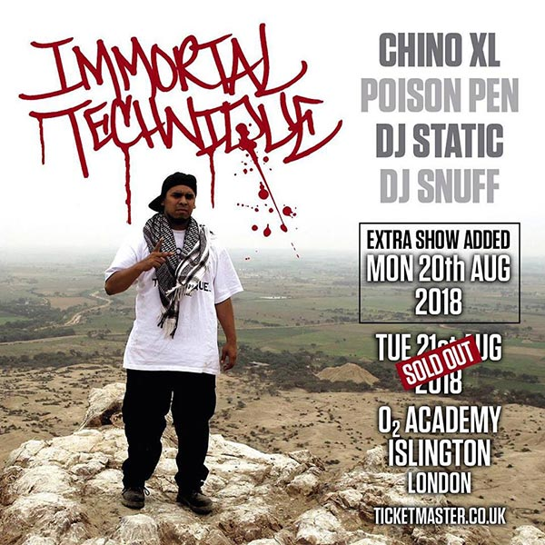 Immortal Technique at Islington Academy on Mon 20th August 2018 Flyer