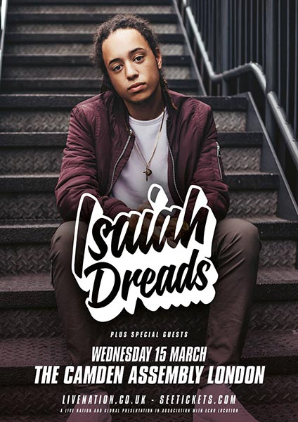 Isaiah Dreads at Islington Assembly Hall on Wednesday 15th March 2017 Flyer