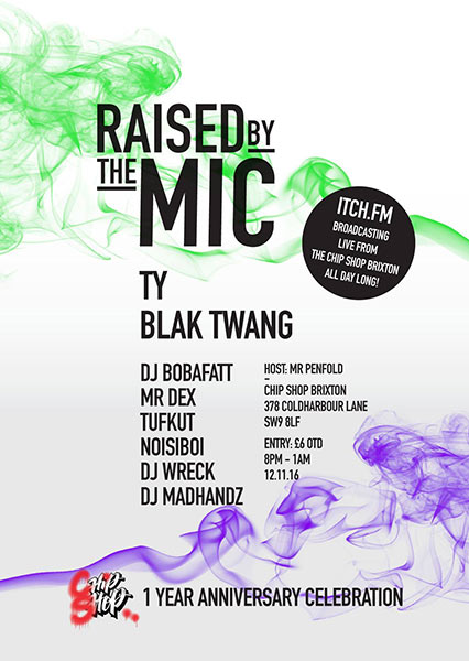 Raised by the Mic at Hoxton Bar & Kitchen on Saturday 12th November 2016 Flyer