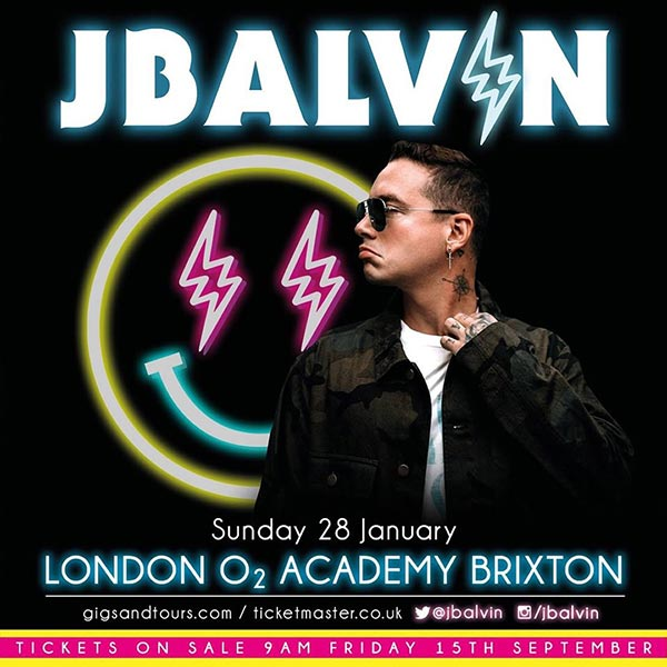 J Balvin at Brixton Academy on Sun 28th January 2018 Flyer