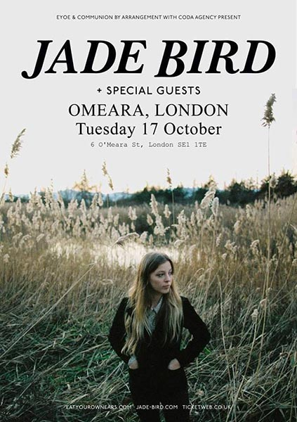 Jade Bird at Omeara on Tue 17th October 2017 Flyer