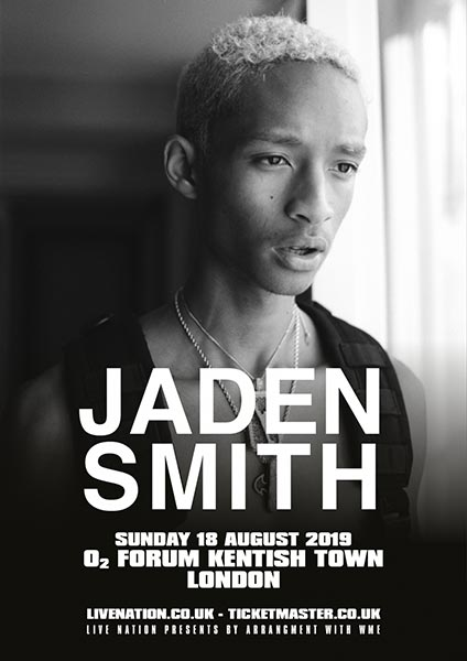 Jaden Smith at The Forum on Sun 18th August 2019 Flyer