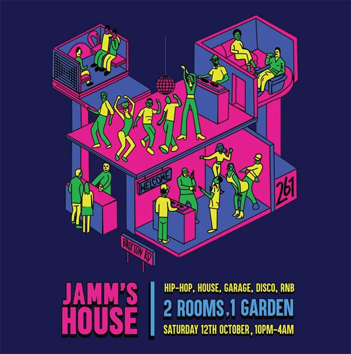 Jamm's House at Brixton Jamm on Sat 12th October 2019 Flyer