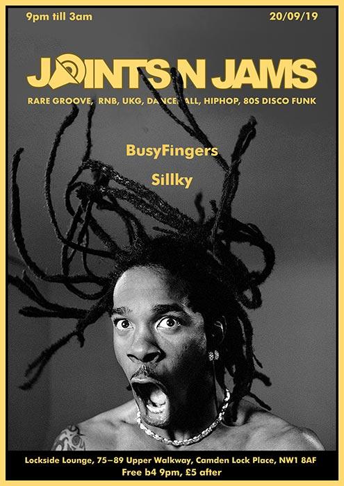 Joints n Jams at Lockside Camden on Fri 20th September 2019 Flyer
