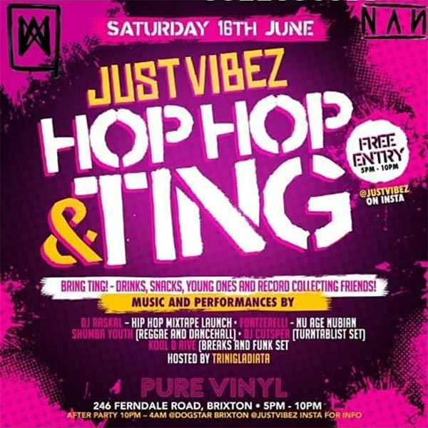 Hip Hop & Ting at Pure Vinyl on Sat 16th June 2018 Flyer