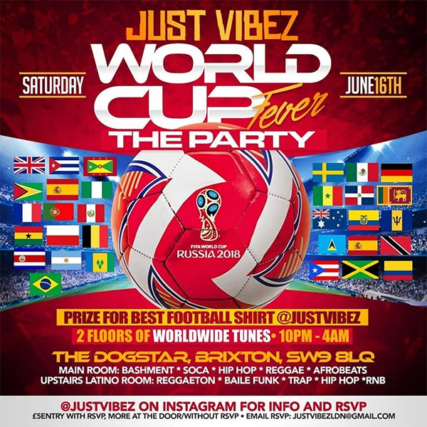 World Cup Fever Party at Dogstar on Sat 16th June 2018 Flyer