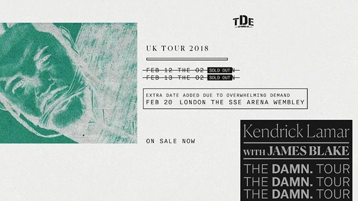 Kendrick Lamar at Finsbury Park on Monday 12th February 2018 Flyer