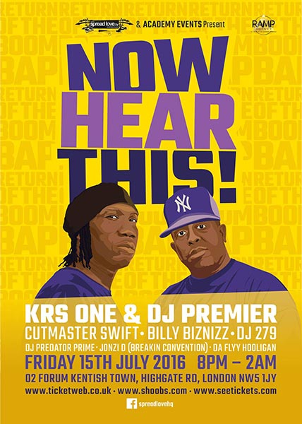 KRS-One & DJ Premier at KOKO on Friday 15th July 2016 Flyer