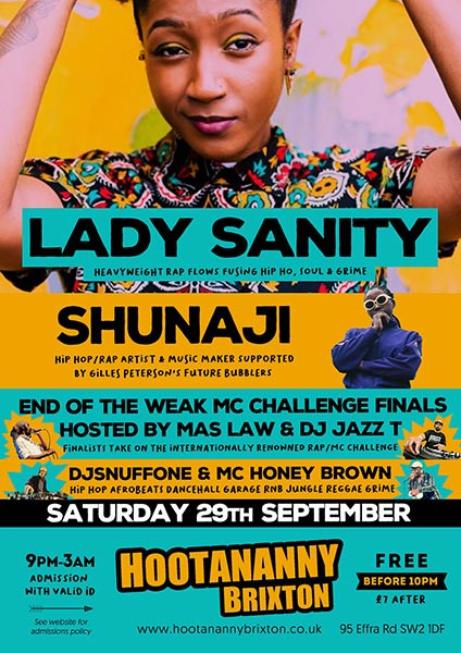 Lady Sanity at Hootananny on Saturday 29th September 2018 Flyer