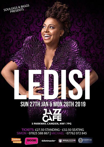 Ledisi at Jazz Cafe on Sun 27th January 2019 Flyer