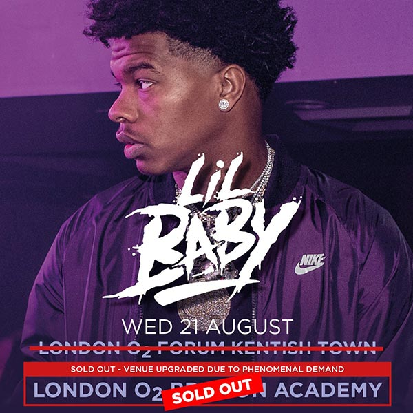 Lil Baby at Brixton Academy on Wed 21st August 2019 Flyer