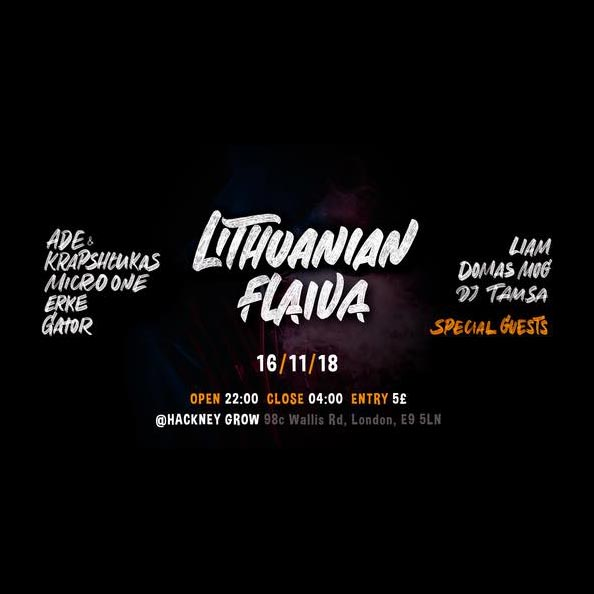 Lithuanian Flaiva! at Grow on Fri 16th November 2018 Flyer