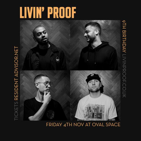 Livin' Proof 9th Birthday at Hoxton Bar & Kitchen on Friday 4th November 2016 Flyer